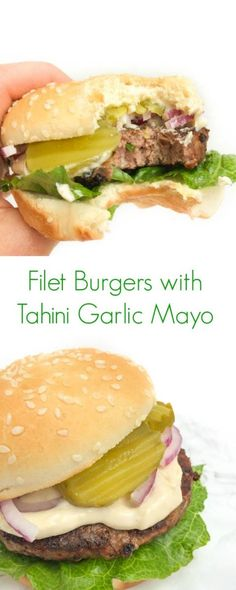 Filet Burgers with Tahini Garlic Mayo - You're not going to want to stop eating this creamy and delicious hamburger! It's easy and quick to make