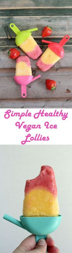 Delicious and simple to make ice lollies completely free from dairy and refined sugar. Simple  to make healthy ice lolly recipe with only 4 ingredients!