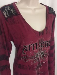 0041017 Affliction Large T-Shirt Red Black Bling Logo Long Sleeve L Tee Top #Affliction #GraphicTee