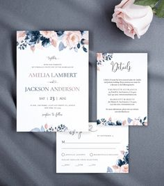 Wedding Invitations with Watercolor Dusty Blue and Blush Flowers & Greenery, Details Card, RSVP Card, Envelope Liner, by AliceBluefox on Etsy Diy Envelope, Envelope Liners, Dusty Blue, Save The Date Wedding, Save The Date Karten, Bridal Shower Welcome Sign, Blush Flowers, Online Print Shop, Printable Wedding Invitations