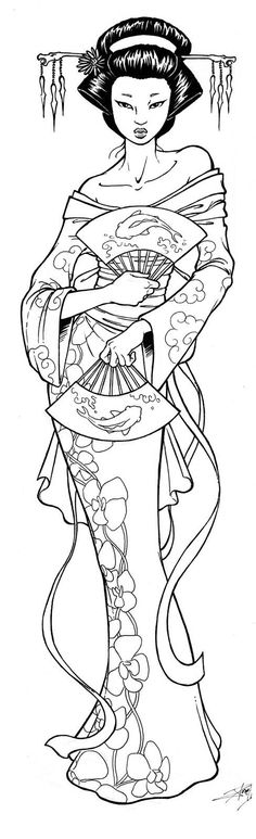 Geisha Coloring Pages Free - Coloring For Kids 2019 Illustration, Japanese Embroidery, Coloring Book Pages, Digi Stamps, Free Coloring, Kids Coloring, Colorful Pictures, Japanese Art, Zentangle