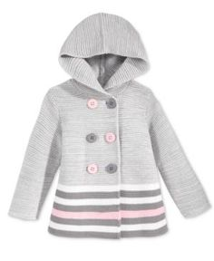 First Impressions Baby Girls' Double-Breasted Striped Hooded Sweater, Only at Macy's - Gray 24 months
