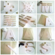 letras de madera pintadas de dorado - Buscar con Google Painted Wood Letters, Framed Letters, Diy Letters, Letter A Crafts, Wooden Letters, Marquee Letters, Baby Frame, Craft Desk, Birthday Balloons
