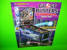 Stern GHOSTBUSTERS Premium Edition Original Flipper Pinball Machine Sales Flyer #SternGhostbusters
