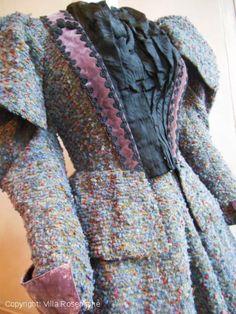 Outstanding Gigot sleeves woollen dress for winter - 1890 -   Villa Rosemaine
