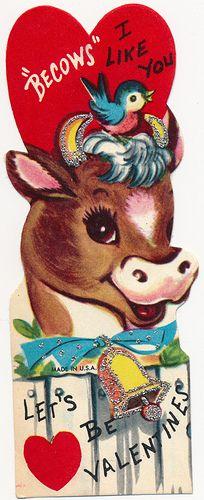 1960s cow valentine