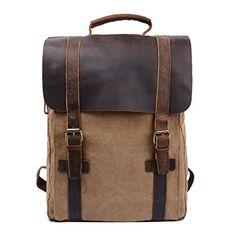 Y-DOUBLE Mochilas tipo casual / Mochila Vintage de Lona y Cuero / Bolso Casual para Viajes / Bolsa de Escuela / Unisex mochila de a diario / Portátil Bolsa - adecuada para 15' cuaderno: Amazon.es: Equipaje