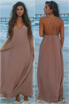 Sunset Dream Taupe Maxi Dress