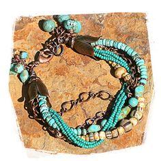 mult strand bracelet Czech glass beads by rocksandpaperswans, $68.00