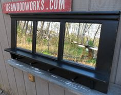 black coat rack  bench shelf   ..distressed  black by usawoodworks, $185.00