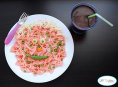 how I made the lunch:    Add about a 1/4 cup of beet juice to your pot of water when boiling your pasta. I didn't want to use too much because I didn't want the pasta to taste like beets, yuck! I used the bow tie pasta because the kids love it. Boil according to box directions. The pasta will turn pink as it cooks in the pink water. When done, drain.