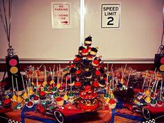 "Daniels dessert table. 5"" Cake (Albertsons), cupcakes, cakepops, rice crispies, brownies, chocolate donuts, & lollipops. Home made :D #hothweels #desserttable"