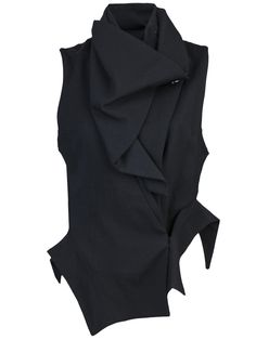 Drape neck vest in black from Ann Demeulemeester-nice