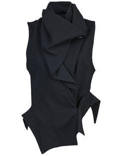 Drape neck vest in black from Ann Demeulemeester-nice