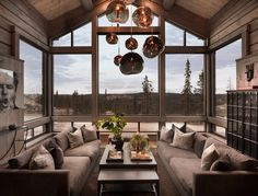 sutlu Kvitfjell - Spectacular log cabin with a very high standard, fantastic views and good sun cond Modern Lodge, Modern Rustic Homes, Lodge Style, Cabin Interiors, Indoor Outdoor Living, Cabin Homes, My Dream Home, Living Spaces, House Design