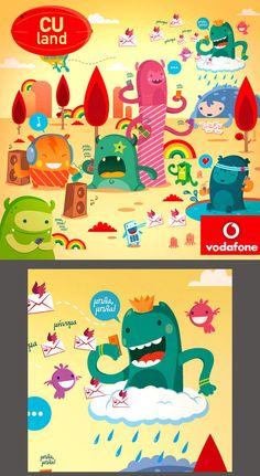 :::Vodafone CU Land - Mobile Monsters::: by Ilias Sounas, via Behance