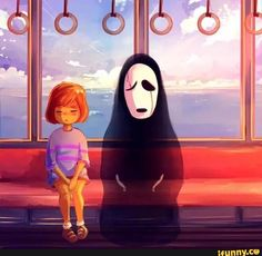 I was just thinking the other day that W.D. Gaster looked a lot like No-Face... So glad someone did this crossover