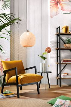 Holz, Textil Gelb, Wengefarben Archi Design, Relax, Scandinavian Home, Ladder Bookcase, Home Staging, Smart Home, Luster, Home Interior Design, Mid-century Modern