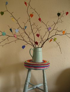 Saw this gorgeous 'twiggy heart tree' and just had to make one too!  It is now my favourite thing in my home!  Am planning to re-theme the branches for Christmas - yay!