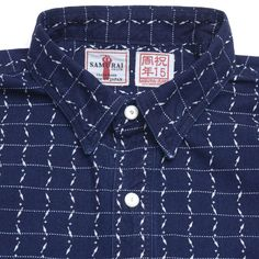 Samurai Jeans - Indigo Dyed Kunai Wabash Pinstripe Shirt  [][][] Samurai original Ninja Wabash discharge print with repeated Kunai (苦無) design  |  Dark Indigo; 100% Cotton; Mother of Pearl dome shape buttons