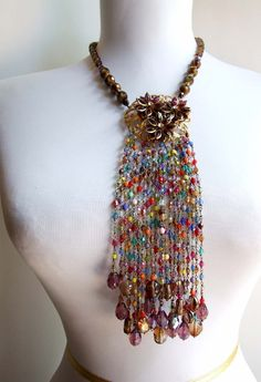Bold statement fringe necklace with wire wrapped by AncaNY on Etsy. $129.00, via Etsy.