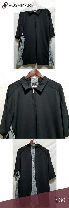 """Nike Sphere React Black & Gray Golf Polo Shirt Men's Nike Sphere React black and gray golf polo shirt, size XXL. It is in excellent used condition with no stains, tears, rips or holes that I can see.  Body: 92% polyester/8% spandex  Insets: 100% polyester   Chest: 54"""" Armpit to armpit: 27"""" Shoulder to waist: 32"""" Armpit to waist: 20""""  All items come from a smoke and pet free home. Nike Shirts Polos"""