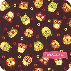Apple Brown Tossed Owls Yardage  SKU# C5707-BROWN