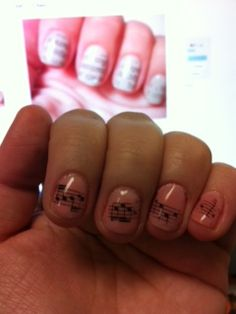 """First item on my """"to do"""" board - Done! I used a magazine instead of newspaper to make musical nails :)"""