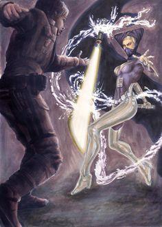 Luke battles Lumiya.