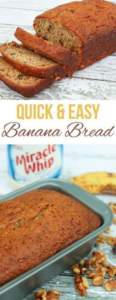 An easy and delicious banana bread recipe, perfect if you like banana walnut bread (ripe banana recipe easy) Banana Walnut Bread, Healthy Banana Bread, Ripe Banana Recipe, Banana Bread Recipes, Bagels, Croissants, Biscuits, Healthy Snacks For Diabetics, Healthy Recipes