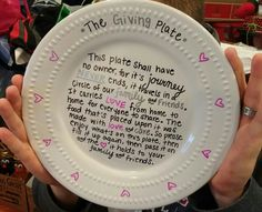 The giving plate. Easy gift for parents/grandparents. $1 microwavable plate, wrote on it with sharpie & put it in the oven at 350 degrees for 30 minutes. Do not open the oven until it cools