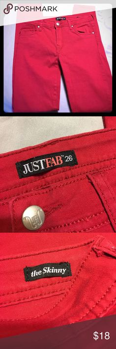 JustFab red jean Excellent condition JustFab size 26 skinny red jean JustFab Jeans Skinny