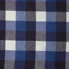 "Black, White, and Royal Blue 1.5"" Plaid Flannel - Cali Fabrics"
