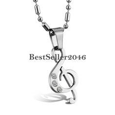 Noten-Anhänger Notenschlüssel Edelstahl Halskette Schmuck für Damen & Herren