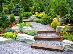 for sloping sites use chunky sleepers for simple steps and infill with gravel. use boulders to define planting and add drama.