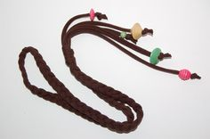 Dark Brown Braided Earth Necklace with Colorful Wooden Beads - Hypoallergenic via Etsy, Tribal, upcycled, sustainable jewelry