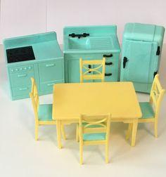 Retro Kitchen Set #Renwal Aqua and Yellow Dollhouse Miniature Kitchen Furniture
