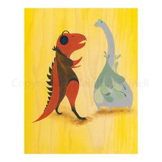 We Like To Dance  art print dinosaurs trex by malathip on Etsy, $20.00