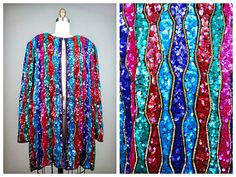 VTG Beaded Sequined Evening Jacket by Judith Ann / Bright Multicolored Sequined Blazer / Jewel Embellished Plus Size Open Top by braxae on Etsy