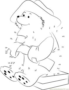 Connect the dots Handsome Paddington Bear worksheet, Dot to dots page: