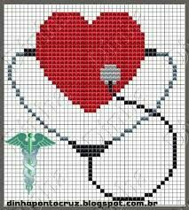 Heart with stethoscope x-stitch Pixel Crochet, Crochet Cross, Crochet Home, Cross Stitch Designs, Cross Stitch Patterns, Cross Stitching, Cross Stitch Embroidery, Christmas Embroidery Patterns, Cross Stitch Heart