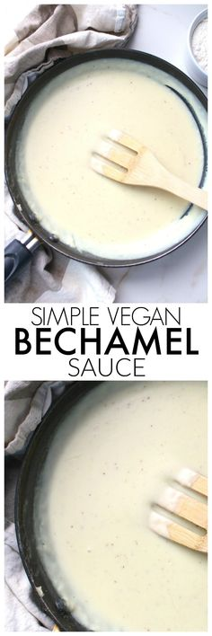 A classic creamy white sauce is vegan-ized with this Simple Vegan Bechamel Sauce recipe. The perfect base sauce for any pasta dish. Vegan Sauces, Vegan Foods, Vegan Dishes, Dairy Free Recipes, Vegetarian Recipes, Gluten Free, Whole Food Recipes, Cooking Recipes, Gluten Free Vegan