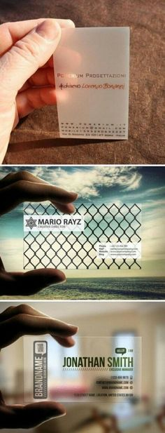 Clear business cards