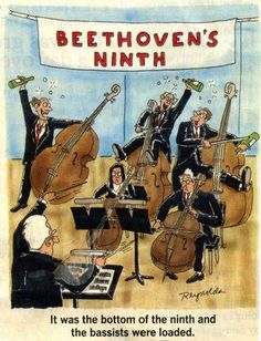 Beethoven's ninth. It was the bottom of the ninth and the bassists were loaded. #doublebass #humor