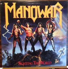 Manowar / Fighting The World / PROMO / Lyric Sleeve / RARE / Vinyl LP Record
