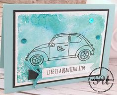 a beautiful ride, hand stamped card, stampin up, 2016 Occasions catalog, salt technique, home made card