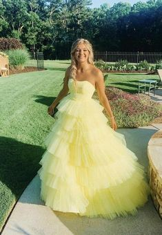 Yellow tulle long A line prom dress evening dress cg21062