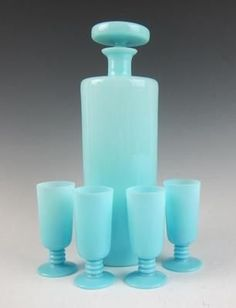 RARE French Portieux Vallerysthal Blue Opaline Decanter Cordial Glass Set Milk | eBay