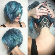 ❤ Blue and teal A-line bob with glitter embelished under-shave