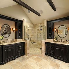 black-bathroom-design-with-marble-touch-and-corner-shower - Home Decorating Trends - Homedit Dream Bathrooms, Beautiful Bathrooms, Black Cabinets Bathroom, Bathroom Black, Wood Bathroom, Master Bathroom, Dark Cabinets, Tile Layout, Floor Layout
